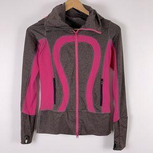 ✨3/$25✨Lululemon In Stride Grey/Pink Jacket